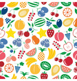 fruit theme color simple icons seamless multicolor vector image