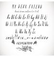gray watercolor alphabet hand drawn font vector image