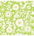 Green and golden garden silhouettes seamless vector image vector image