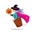 Halloween Witch with pumpkin Cartoon vector image vector image