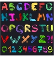 Hand drawn gouache alphabet vector image