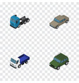 isometric car set of armored lorry truck and vector image vector image