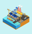 isometric gas offshore industry concept vector image