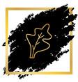 lettuce leave sign golden icon at black vector image vector image