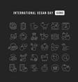 line icons international vegan day vector image vector image