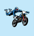 motocross rider jumping on motorcycle vector image vector image