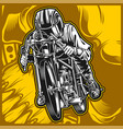 motorcycle racing hand drawing vector image vector image
