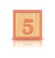 number 5 wooden alphabet block vector image vector image