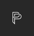 P letter monogram logo black and white mockup