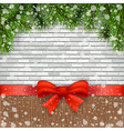 Pine branches and bow on a background of bricks vector image vector image