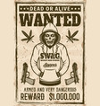rapper gangster skull in hoodie wanted poster vector image vector image