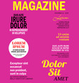 realistic magazine front page template vector image vector image