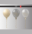 realistic transparent helium set of balloons with vector image vector image