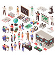 school isometric set vector image vector image