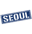seoul blue square stamp vector image vector image