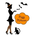 silhouette a witch on halloween vector image vector image