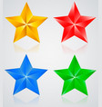 stars colored pentagonal star with shadows vector image vector image