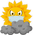 sun cartoon with medical mask vector image