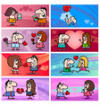 valentine cartoon greeting cards designs vector image vector image