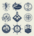 vintage monochrome nautical logos vector image vector image