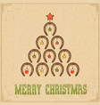 western christmas greeting card with horseshoe vector image vector image