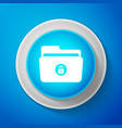 white locked folder icon on blue background vector image