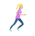 young blonde girl in slinky sport form running vector image vector image