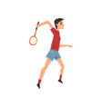 young man playing tennis or badminton active vector image vector image