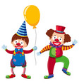 two happy clowns with yellow balloon vector image