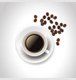 realistic coffee cup and beans on white vector image