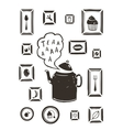 Kitchen Drinking Tea Teapot and Cooking Art Frames vector image