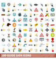 100 guide sign icons set flat style vector image vector image