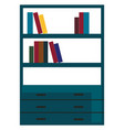 a modern book shelf in blue color stacked with vector image
