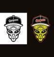 alien head in baseball cap two styles black vector image vector image