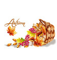 autumn card watercolor fall harvest grapes basket vector image vector image
