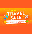 best travel sale advertising banner with airplane vector image vector image