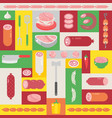 butcher shop collage set icons with meat and vector image vector image