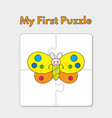 cartoon butterfly puzzle template for children vector image vector image