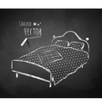Chalkboard drawing of bed vector image vector image
