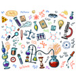 chemistry icons set chalkboard with elements vector image vector image