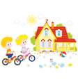 Children riding bicycles vector image vector image