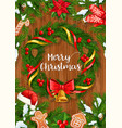 christmas tree wreath with xmas bell and santa hat vector image vector image