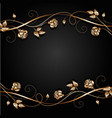copper flowers with shadow on dark background vector image vector image
