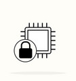 cpu processor lock line icon cyber security vector image vector image