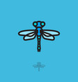 dragonfly flat logo linear icon insect vector image vector image