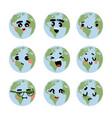 earth emotions cartoon planet with funny faces vector image vector image