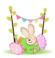 easter rabbit with easter egg vector image vector image