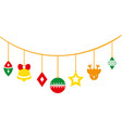 full color differents balls hanging to christmas vector image