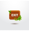 Game interface button exit on wooden template vector image vector image