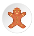 Gingerbread man icon cartoon style vector image vector image